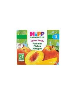 Pommes Pêches Mangues 100% fruits - 4 coupelles x 100g - 8 mois