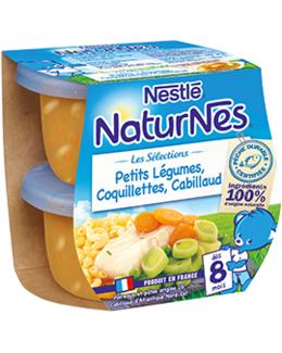 Naturnes - Petits légumes, coquillettes et Cabillaud