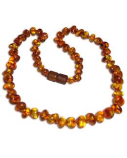 Collier en perles d'ambre lisses