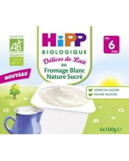 Fromage Blanc Nature Sucré - 4 coupelles x 100g - 6 mois