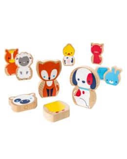 8 animaux magnétiques en bois
