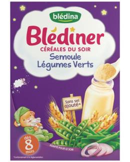 BLEDINER céréales du soir, semoule, légumes verts