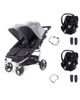 Poussette double Easy Twin 4 + 2 coques Cybex Aton 5