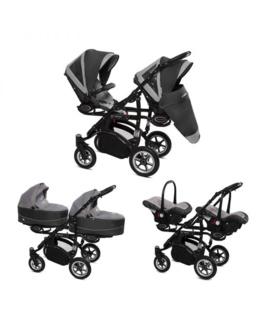 Poussette Trio Twinni Premium + 2 nacelles + 2 sièges auto Silver