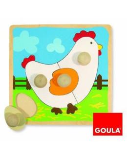 Puzzle poule bois
