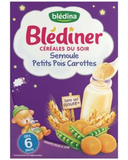 Blédiner Céréales du soir - Semoule, petits pois et carottes