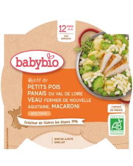 Mijoté de Petits pois Panais Veau fermier d'Aquitaine Macaroni au Thym