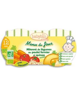 Bio menu du jour mitonné de légumes au poulet fermier et quinoa 200 g