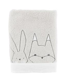 Drap de bain bouclette de coton biologique brodé animaux Imagine