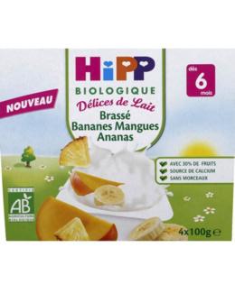 Brassés Bananes Mangues Ananas - 4 coupelles x 100g - 6 mois