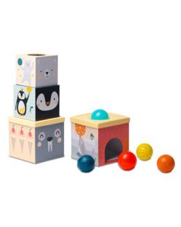 Cubes gigognes et 5 balles