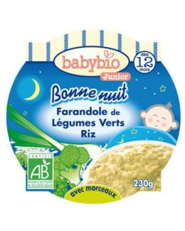 BONNE NUIT Farandole de légumes verts riz 230 g dès 12 mois