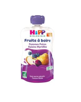 Gourde Pommes Poures Raisins Myrtilles - 1 gourde x 120ml - dès 12 mois