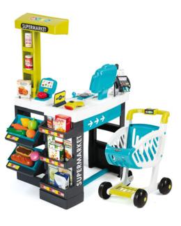 Supermarché avec caisse et chariot