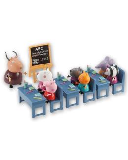 Salle de classe avec 7 personnages Peppa Pig