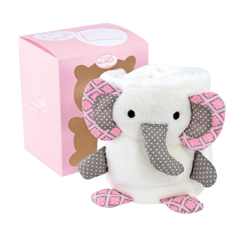 Couverture blanche avec éléphant rose