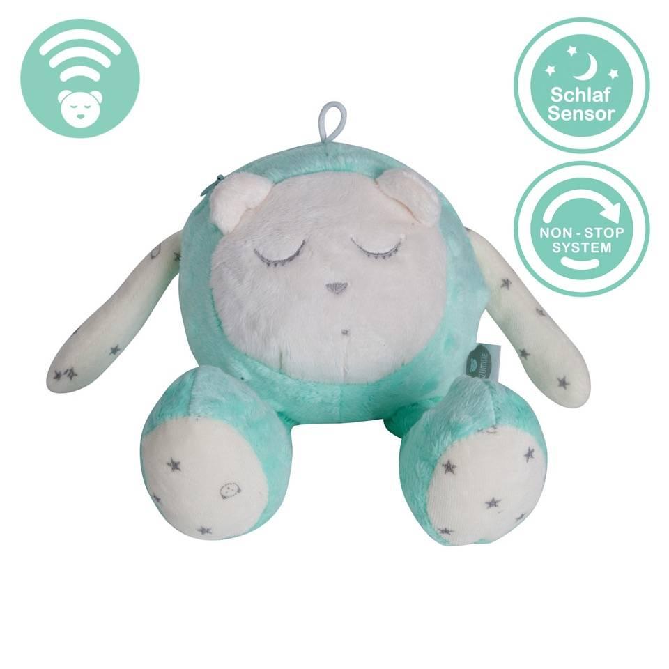 Mascotte qui dort avec capteur de sommeil