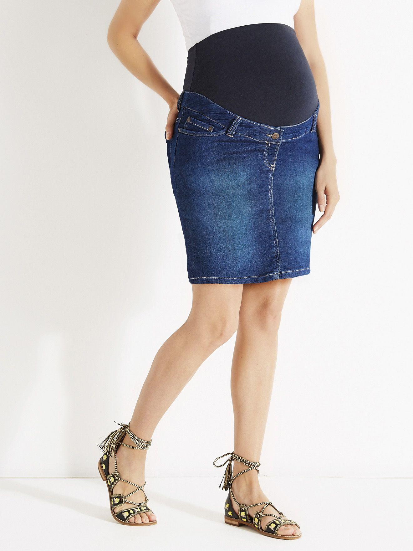 Jupe courte de grossesse molleton effet jean