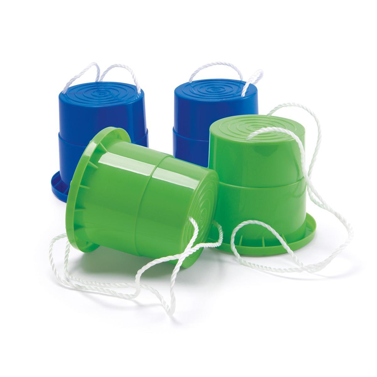 2 paires de sabots échasses bleues et vertes