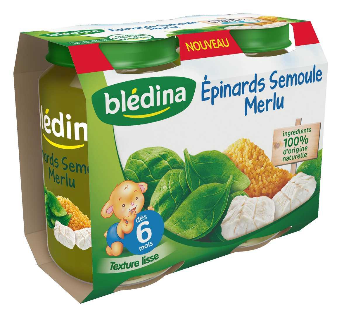 Pot Épinards Semoule Merlu 2x200g BLEDINA