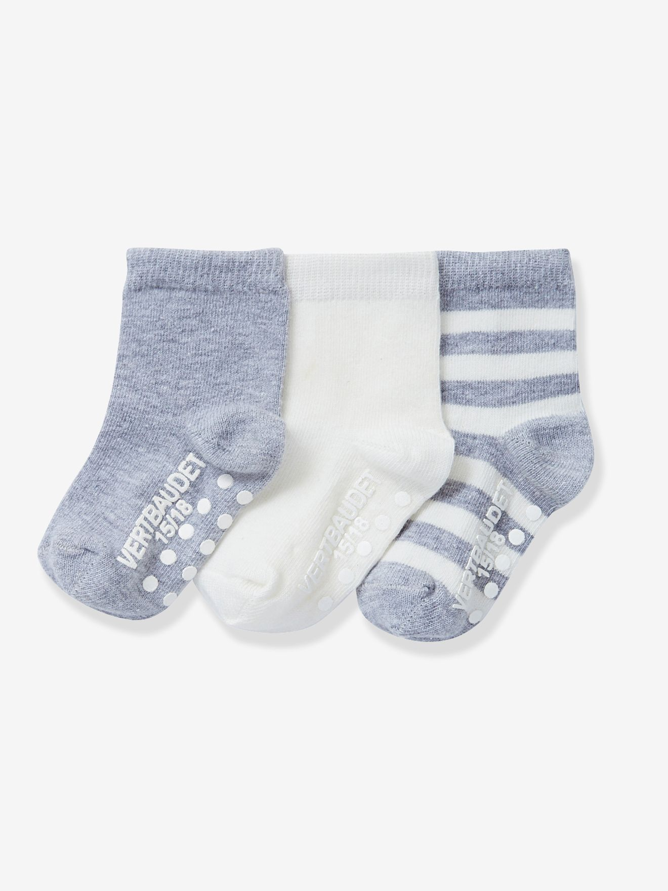 Lot de 3 paires de mi-chaussettes antidérapantes VERTBAUDET