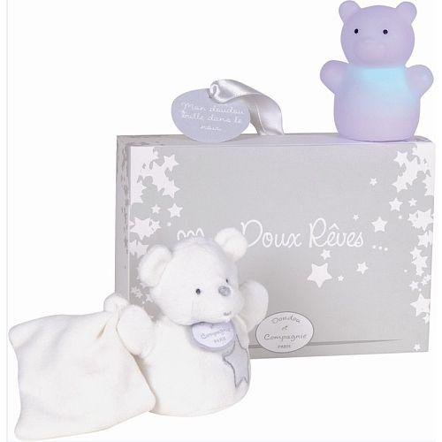Coffret Mes doux rêves : veilleuse et doudou ours