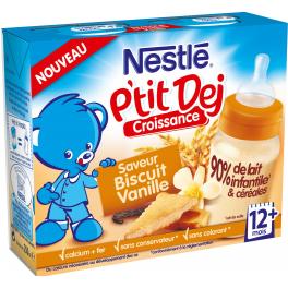 Nestlé P'tit Dej - Brique lait & céréales biscuit vanille