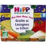 Mon Dîner Bonne Nuit Gratin de Lasagnes au Céleri - 2 pots x 190g - 8 mois HIPP