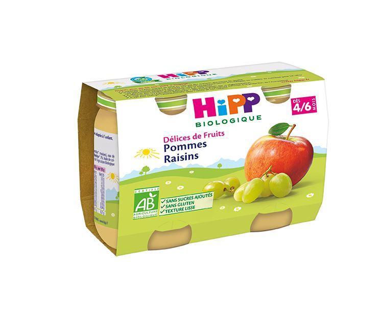 Pommes Raisins - 2 pots x 190g - dès 4/6 mois
