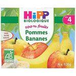 100% Fruits Pommes Bananes - 4 coupelles x 100g - 4 mois